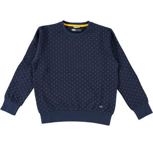Maglietta girocollo in felpa con fantasia geometrica sarabanda NAVY-AVION-6Z94