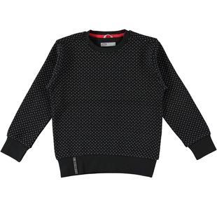 Felpa girocollo effetto tricot per bambino sarabanda NERO-GRIGIO-BIANCO-6J07