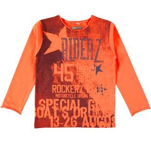 T-shirt a manica lunga stampa effetto vintage sarabanda ARANCIO-2211