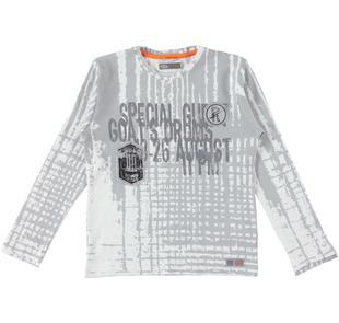 T-shirt a manica lunga con scritte stampate e scudetti sarabanda PANNA-0112