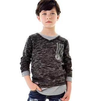 Particolare maglietta per bambino in jersey effetto doppia t-shirt sarabanda NERO-0658