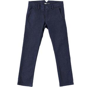 Pantalone per bambino modello chinos in tessuto effetto quadretto sarabanda NAVY-3854