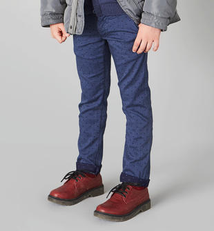 Pantalone in tessuto micro-fantasia a pois per bambino sarabanda NAVY-3554