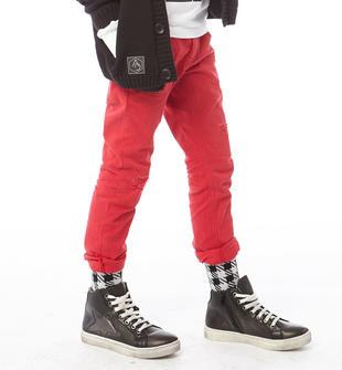 Pantalone per bambino in cotone stretch con strappi sarabanda ROSSO-2253