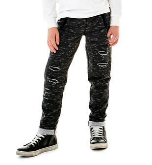 Pantalone in felpa effetto fiammato con strappi sarabanda NERO-0658