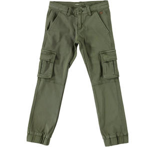 Pantalone modello cargo in cotone elasticizzato sarabanda VERDE MILITARE-5554