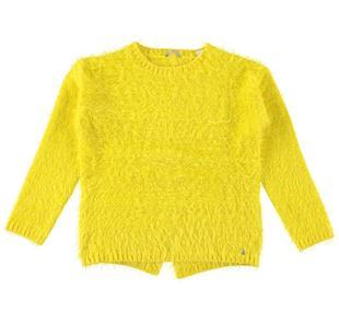Maglia girocollo in tricot effetto pelliccia per bambina sarabanda GIALLO-1433