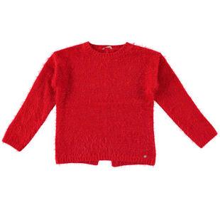 Maglia girocollo in tricot effetto pelliccia per bambina sarabanda ROSSO-2253