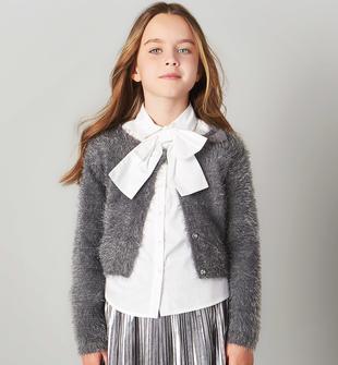 Cardigan in tricot effetto pelliccia apertura con bottoni sarabanda GRIGIO SCURO-0564