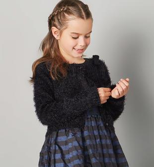 Cardigan in tricot effetto pelliccia apertura con bottoni sarabanda NERO-0658
