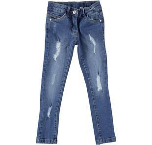 Jeans slim fit effetto consumato per bambina sarabanda