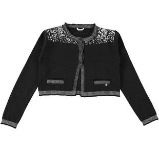 Cardigan corto in tricot effetto pelliccia sarabanda NERO-0658