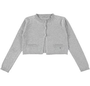 Cardigan corto in tricot effetto pelliccia sarabanda GRIGIO MELANGE-8992
