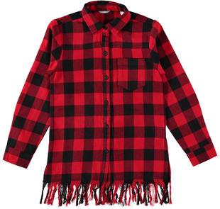 Maxi camicia a quadri con frangia per bambina sarabanda ROSSO-2253