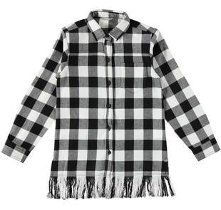 Maxi camicia a quadri con frangia per bambina sarabanda BIANCO-NERO-8057