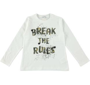 Calda t-shirt a manica lunga con stampa effetto spruzzo sarabanda PANNA-0112