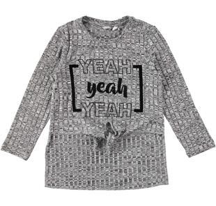 Particolare maxi maglietta in morbido tricot sarabanda GRIGIO MELANGE SCURO-8994