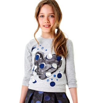 T-shirt a manica lunga con grafica macro pois sarabanda GRIGIO MELANGE-8992