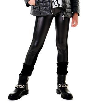 Pantalone leggings stile biker con rifiniture ecopelle per bambina sarabanda NERO-0658
