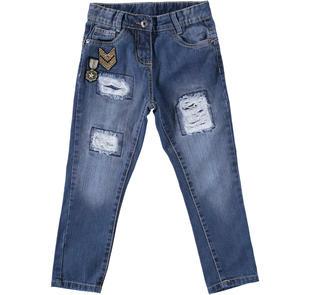 Jeans con strappi e toppe interne per bambina sarabanda STONE WASHED-7450