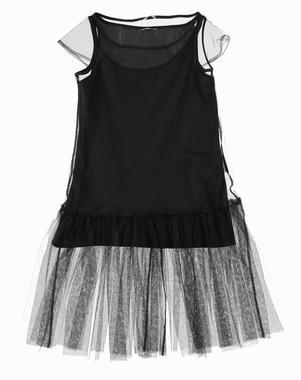 Vestitino in tulle a manica corta per bambina sarabanda NERO-0658