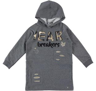 Mini abito per bambina in felpa stretch con strappi e toppe sarabanda GRIGIO MELANGE SCURO-8994