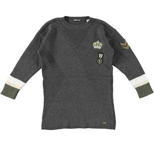 Mini abito con lavorazione incrociata sarabanda GRIGIO MELANGE SCURO-8994