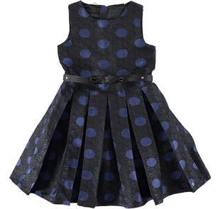 Prezioso vestito scamiciato con fantasia pois sarabanda BLU-NERO-6J35