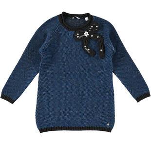 Prezioso mini abito con fiocco e pietre gioiello sarabanda BLU INDIGO-3647