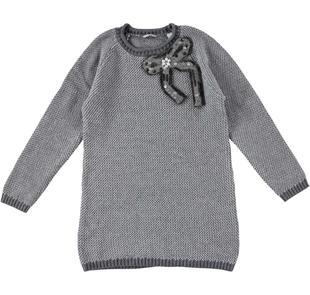 Prezioso mini abito con fiocco e pietre gioiello sarabanda GRIGIO MELANGE-8873