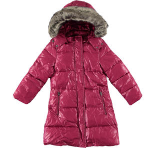 Piumino invernale imbottito in ovatta e foderato in pelliccia sintetica per bambina sarabanda BORDEAUX-2654