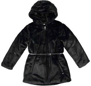 Cappotto eco pelliccia per bambina con cinturina in eco pelle sarabanda NERO-0658