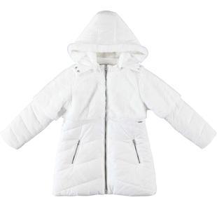 Particolare piumino invernale doppiato in eco pelliccia per bambina sarabanda PANNA-0112