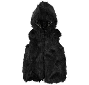Gilet in eco pelliccia con spalle in eco pelle sarabanda NERO-0658