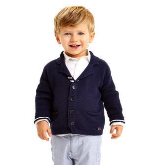 Cardigan bambino 100% cotone con colletto rever dentellato sarabanda NAVY-3854