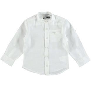 Camicia bambino con collo alla coreana in lino 100% sarabanda