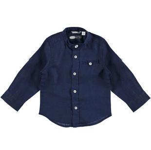 Camicia bambino con collo alla coreana in lino 100% sarabanda NAVY-3854