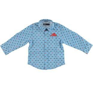 Camicia in popeline stretch misto cotone con taschino con pochette sarabanda AZZURRO-NAVY-6BU8