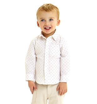 Camicia bambino in fil a fil stretch di cotone con microfantasia sarabanda BIANCO-MULTICOLOR-6BW3