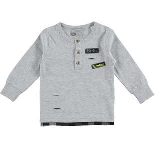 Maglietta bambino 100% cotone con collo serafino e moderni strappi sarabanda GRIGIO MELANGE-8992