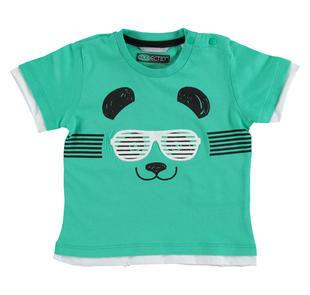 T-shirt 100% cotone a manica corta con fondo tagliato a vivo sarabanda VERDE ACQUA-4643