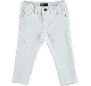 Pantalone slim fit in cotone stretch effetto delavato con strappi sarabanda BIANCO-0113