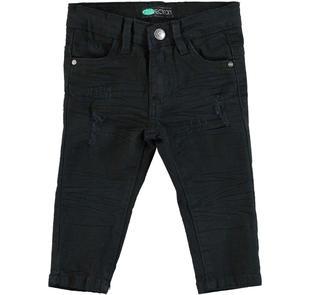 Pantalone slim fit in cotone stretch effetto delavato con strappi sarabanda NERO-0658