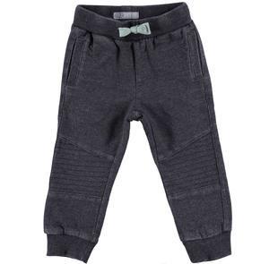 Pantalone bambino in morbida felpa non garzata delavè sarabanda NERO-0658