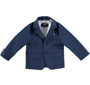 Elegante giacca bambino in piquet stretch di cotone effetto righina sarabanda NAVY-3854