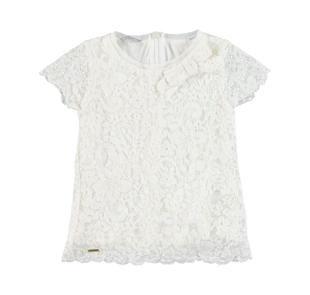 Blusa per bambina a manica corta in pizzo floreale sarabanda PANNA-ORO-6BR1