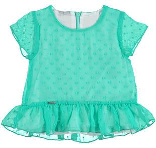 Blusa per bambina a manica corta in chiffon ricamato sarabanda VERDE-4641