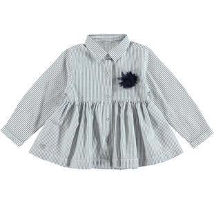 Maxi camicia bambina con fantasia di righe e intrecci lurex sarabanda NAVY-3854