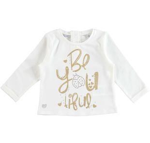 Maglietta a manica lunga in cotone stretch stampa glitter e oro sarabanda PANNA-0112