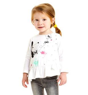 Maglietta in cotone stretch con cucciolo e fondo asimmetrico sarabanda BIANCO-0113